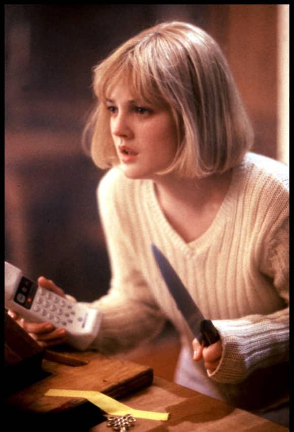 Drew Barrymore in the slasher film, 'Scream'.
