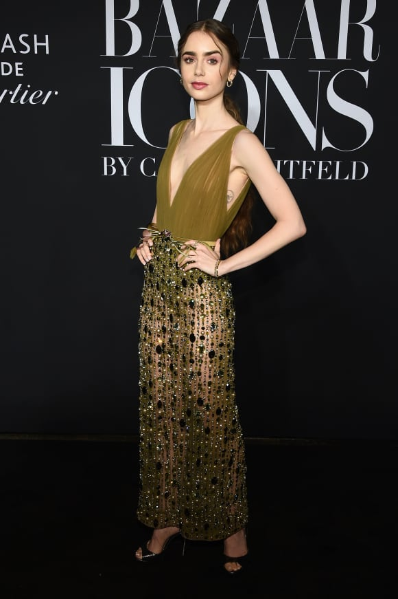 """Lily Collins attends as Harper's BAZAAR celebrates """"ICONS By Carine Roitfeld"""" on September 06, 2019"""