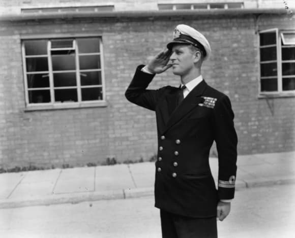 Lieutenant Philip Mountbatten, prior to his marriage to Princess Elizabeth, saluting as he resumes his attendance at the Royal Naval Officers School at Kingsmoor, Hawthorn, England, July 31st 1947