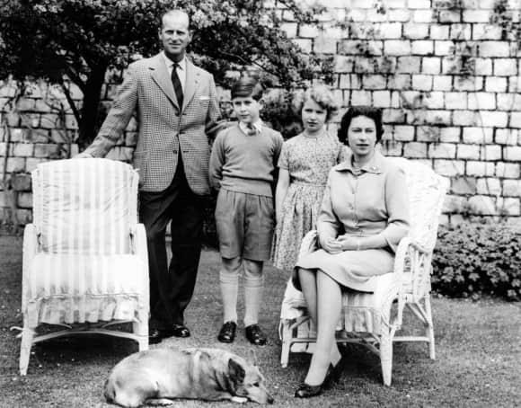 Prince Philip, Prince Charles, Princess Anne and Queen Elizabeth II June 1959