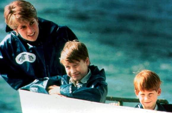 La princesa Diana, el príncipe William y el príncipe Harry