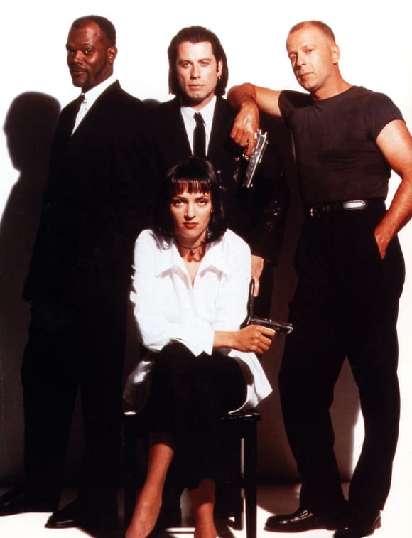 Samuel L. Jackson, Uma thurman, Joghn Travolta and Bruce Willis in Pulp Fiction