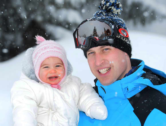 Prince William, Duke of Cambridge and Princess Charlotte, enjoy a short private skiing break on March 3, 2016 in the French Alps, France