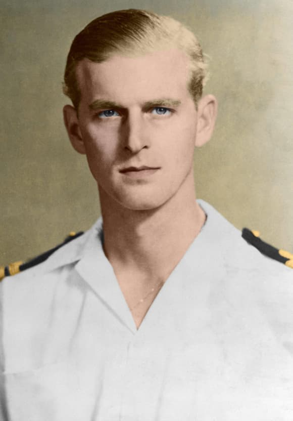 The Duke of Edinburgh as Commander of the Frigate HMS Magpie in 1951 Colourised photograph, Malta